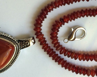 Diy Setting-Oval carneian pendant - Carnelian rust rondelle beads full 16 inches strand