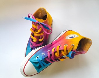 Sunrise Sunset Tie Dye Custom Converse High Tops