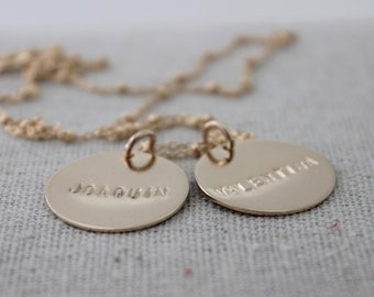 stamped names necklace | two names necklace | two names | 14k gold filled name pendants