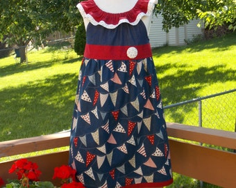 Red, White, and Blue Nautical Flutter Sleeve Peasant Dress, Size 3-4, 5-6, 7-8, and 9-10