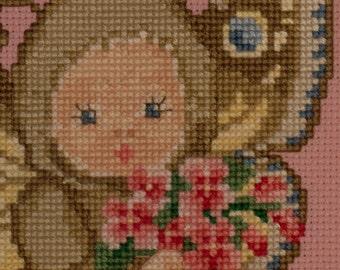 Cupie Darling in Wings needlepoint cross stitch butterfly