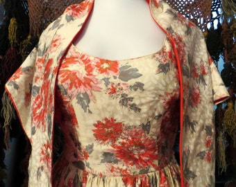 NOS 50s Floral Print with Rhinestones Party Dress with Circle Skirt and Shawl, NOS