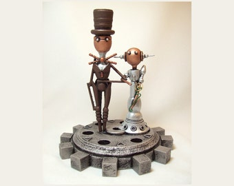 Elegant Wedding Cake Topper Steampunk Gear Base Robot Couple Groom Bride Wood Sculpture