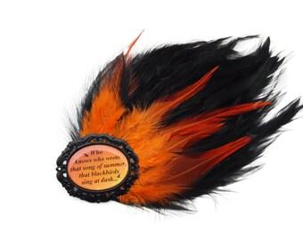 Kate Bush Black Orange Feather Hair Clip Fascinator - SUNSET - Aerial BTD Ltd Ed Etsy uk