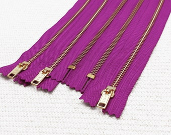 NEW: 14inch - Magenta Metal Zipper - Gold Teeth - 5pcs