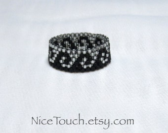 SUMMER SALE!!! Free Shipping or Save 20% ~ Gothic Silver Wave black and silver beaded ring ~ Made to Order