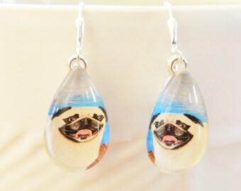 Happy Pug Earrings, Original Artwork Pug Earrings