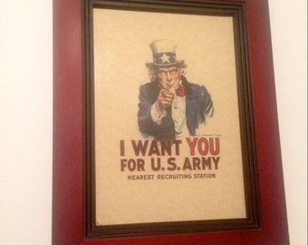 UNCLE SAM U.S. Army Recruiting Poster, Replica, in Beautiful Rich Stepped Frame