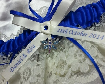 Personalized dragonfly Wedding Garter, Royal electric blue and ivory dragonfly themed Garter