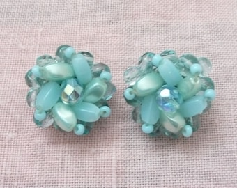 Aqua and Light Blue Bead Cluster Clip On Earrings, Made in West Germany