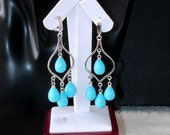RESERVED FOR LM:  Ashira Turquoise Pearl Chandelier Silver Gift Present Cz Dangle Drop Earring Perfect for Bride, Wedding, Festive Night