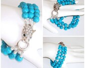 """RESERVED FOR LM:  Ashira 3 Strand Turquoise Statement Bracelet with Stunning Panther and Crystal Clasp - fits 7.5"""""""