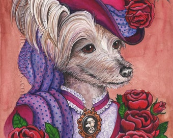 Custom Full Color Steampunk Pet Portait 8x10 Watercolor