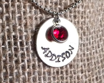 "FinixCo Handstamped Personalized Charm 3/4"" Disc/Pendant With or Without Chain with one Swarovski Crystal"