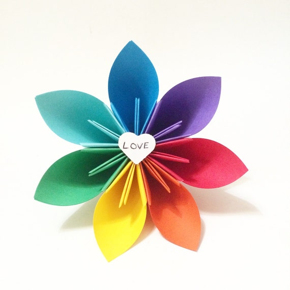 Items similar to Love wins- rainbow paper flower on Etsy
