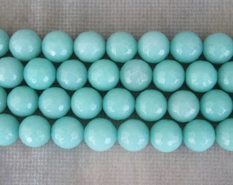 Beautiful Light Blue Faceted Round Beads 10mm - 16 Inch Strand