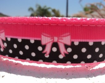 """Sale Girl Dog Collar Buttons & Bows 1"""" wide Side Release buckle or martingale style adjustable"""