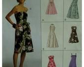 A-Line Sundress Pattern, Strapless/Halter/Shoestring Straps, Princess Seams, Long/Short, Vogue No.7848  Size 12 14 16 OR Size 6 8 10