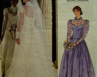 "Open Back Bridal Gown, Lace Trim, Full Skirt, Chapel Train, Fitted Bodice, Petticoat, Vogue No. 1248 UNCUT Size 10 (Bust 32.5"" 83cm)"