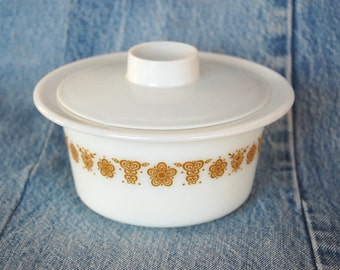 Vintage Pyrex Round Butter Dish Butterfly Gold Pattern 1970s Pyrex 75 Margarine Dish With Lid