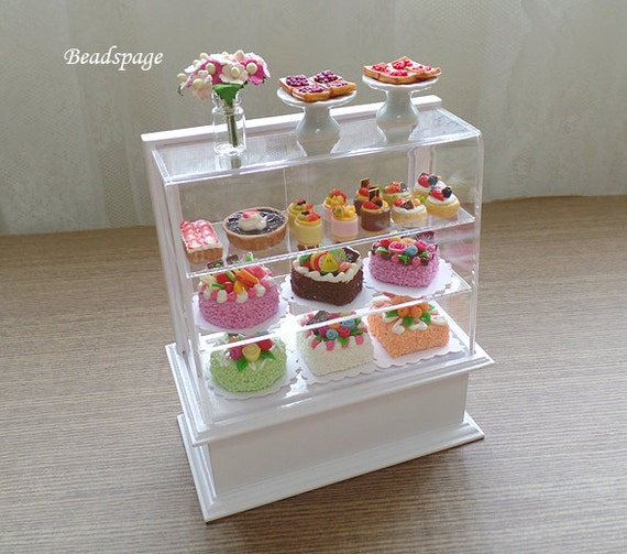 Dollhouse Miniature Bakery Pastry Cabinet Display Set By