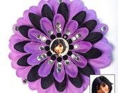 GoGo Tomago Big Hero 6 Purple and Black Penny Blossom Rhinestone Flower Barrette