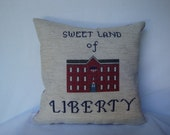 Land of Liberty patriotic pillow, colonial style stitchery, patriotic theme pillow, cross stitched patriotic picture, National pride