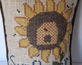 Sunflower pillow, cross stitched sunflower, floral pillow, shelf sitter pillow, room decor, home decor