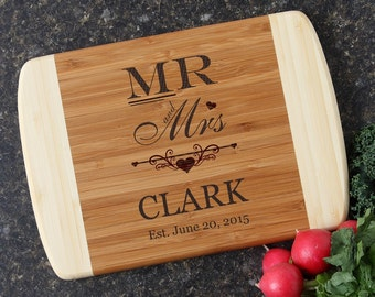 Personalized Mr and Mrs Cutting Board, Cheese Board, Engraved Bamboo Cutting Board, Personalized Wedding Gifts, Housewarming Gift-11 x 8 D21