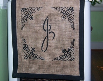 Personalized burlap table runner with black border