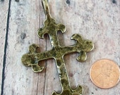 Antiqued Gold or Bronze Hammered Cross Pewter Pendant
