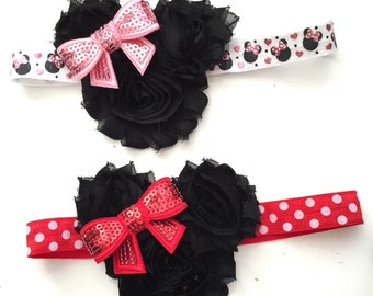 SALE Mouse Ears Headband, Mouse Bow, Mouse baby headband, Mouse Ears Baby