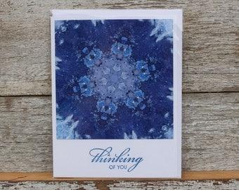 Thinking of You kaleidoscope digital art blank greeting card