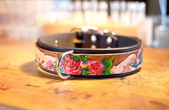 Personalized Dog Collar Leather Hand Tooled Leather Dog Collar with your Pets Name  - Tattoo Dog Collar in Leather