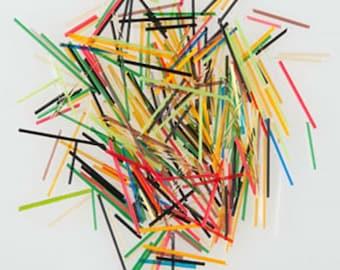 Uroborus COE 96 Glass Stringers Sprinkles Mardi Gras Mixed Colors 8 oz Large Jar