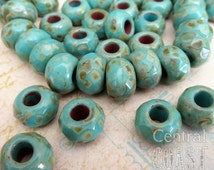 Tombstone Roller Beads - Czech Glass Faceted Picasso Beads - 8mm x 12mm - 6pcs - Turquoise Blue - Spacer ~ Focal - Central Coast Charms