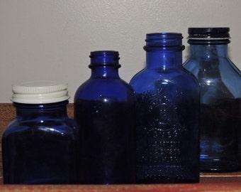 4 Vintage Cobalt Blue Medicine Bottles - Milk of Magnesia - Made in USA -