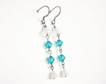 Sterling Earrings with Lillies and Turquoise Crystals