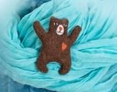 Felt Teddy bear brooch with hear. Bear needle felting