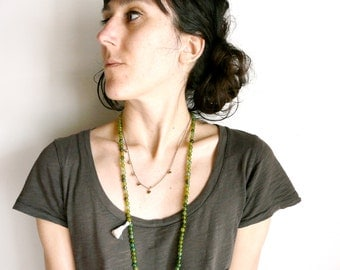 Delicate brass and golden aura necklace ( brass antiqued, indie, dream ) 03