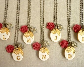 Red Roses Bridesmaid Jewelry, Necklace set of 7, Wedding Party Gifts, Bridesmaids and Flower girls, Deep Red and Gold, Letter Necklace