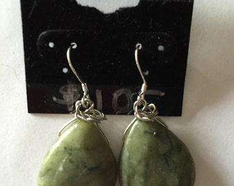 Serpentine Earrings, Teardrop Earrings, Dangle Earrings, Gift for Her, Large Earrings, Green Earrings, Sterling Silver, Serpentine Jewelry