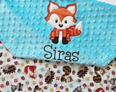 BACK IN STOCK Personalized Woodlands Forest Animals Baby Blanket with Embroidery and Raccoon or Fox Applique - Turquoise or Green Minky