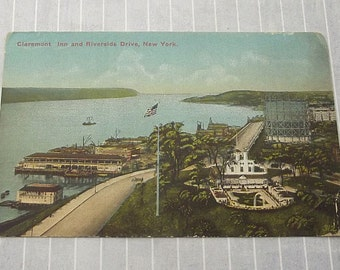 Vintage Claremont Inn Postcard, Riverside Drive New York City, River 123rd Street NYC, Historic Manhattan, Art Nouveau