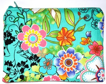 Bright Floral Coin Purse Zipper Pouch