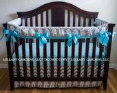 Girl Crib Bedding - Grey, White and Turquoise with Elephants - 3 piece custom bumperless baby bedding