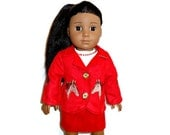Suede Suit Jacket Red Horses Skirt Blouse 18 inch Doll Embroidered
