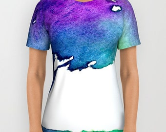 Designer Clothing - Hue Tree Painting - Artistic All Over Printed T Shirt