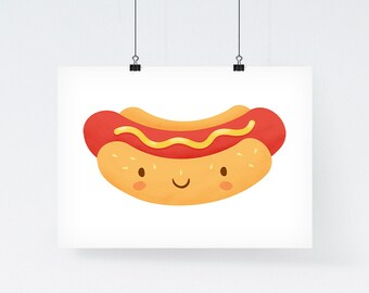 Happy Hot Dog - Illustration Art Print