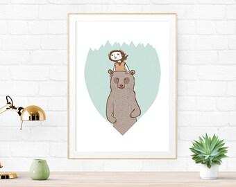 Woodland Art, Nursery Art Print, The Chaperone, Bear Art Print, Illustration Print, Baby Shower Gift, Woodland Nursery, woodland decor